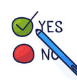 doodle pen write yes vote on a voting paper flat vector image vector image