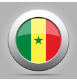 Flag of Senegal Shiny metal gray round button vector image vector image