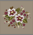 frame flowers embroidery patch vector image vector image