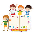 frame template with happy children and numbers vector image vector image