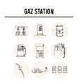 gas station isolated hand drawn doodles vector image
