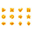 golden collection set glass buttons for ui vector image vector image