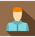 Haired man icon flat style vector image vector image