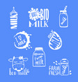 hand drawn milk labels for your design logo vector image