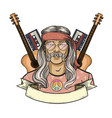 hand drawn sketch hippie man vector image
