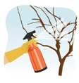 hand spraying tree in garden with protecting spray vector image vector image