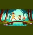 hikers walk over bridge crossing river in forest vector image vector image