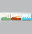hone cocoa beans and milk food label templates vector image