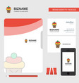 ice cream business logo file cover visiting card vector image