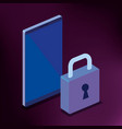 isometric smartphone and padlock cyber security vector image