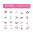 line icons set valentines day vector image vector image
