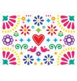 mexican happy folk art greeting card design vector image vector image