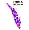 mosaic kerala state map of square elements vector image vector image