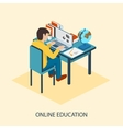 Online education Students are taught online vector image vector image