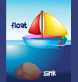 opposite words for float and sink vector image vector image