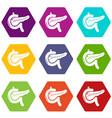 pancreas icons set 9 vector image vector image