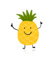 pineapple cute character for your design vector image vector image