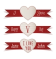 Realistic Valentines Day Labels and Ribbons Set vector image