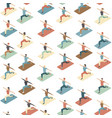 social distancing in a gym people doing exercise vector image vector image