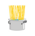 spaghetti in saucepan cook cooking pasta in pan vector image vector image