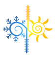 sun and snowflake abstract symbol of temperature vector image vector image