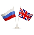 Table stand with flags of Russia and England vector image vector image