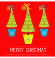 Three Christmas tree in pot Merry Christmas card vector image vector image