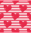 tile pattern with pink stripes and red hearts vector image