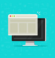 web browser window on computer display vector image vector image