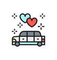 wedding car limousine service flat color line vector image vector image
