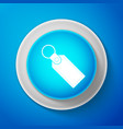 white rectangular key chain with ring for key icon vector image vector image