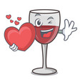 with heart wine mascot cartoon style vector image