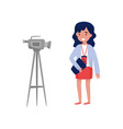 woman reporter standing in front of camcorder vector image