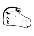 zebra cartoon head in black silhouette with thick vector image vector image