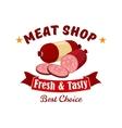 Meat and butcher shop emblem label vector image