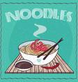 asian noodles ramen or udon with shrimp vector image