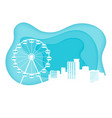 amusement park and cityscape in paper art style vector image