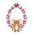 bear with leaves vector image