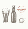 beer bottle glass and hop hand drawn pub
