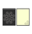 Black cover notebook with round ornate star vector image vector image