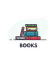 book pile line art vector image