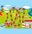 boy going to school board game vector image