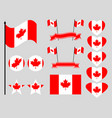 canada flag set collection of symbols flag vector image vector image
