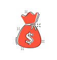 cartoon money bag icon in comic style moneybag vector image