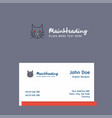 cat logo design with business card template vector image