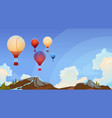 colorful air balloons flying in sky over summer vector image