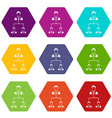company structure icon set color hexahedron vector image vector image