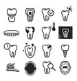 dental care icon set on white background vector image vector image