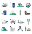 Electric Car Charging Flat Icons Set vector image