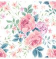 floral seamless pattern flower rose white vector image vector image